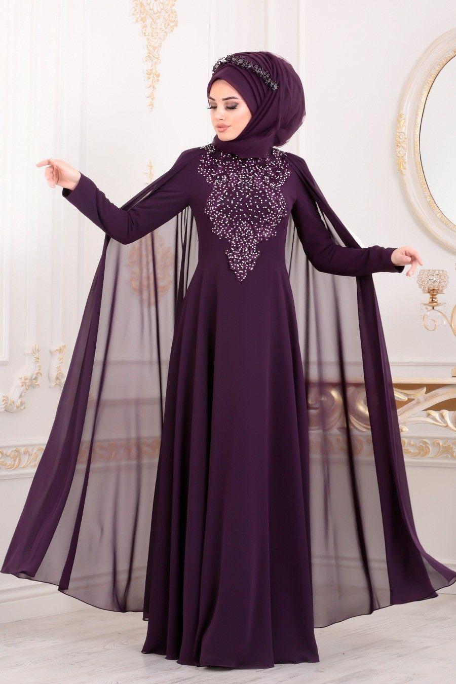 Tesetturlu Abiye Elbise Pelerinli Mor Tesettur Abiye Elbise 20710mor Tesetturisland Com Elbise Giyim Elbise Modelleri