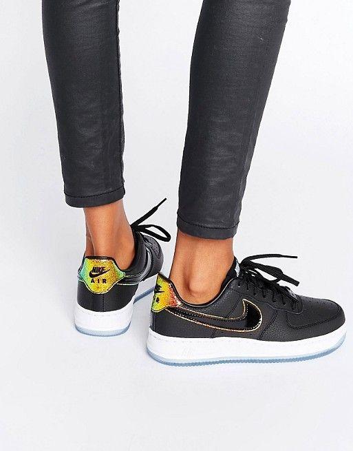 Nike   Nike – Air Force 1 '07 – Schwarze Sneaker mit Holografie