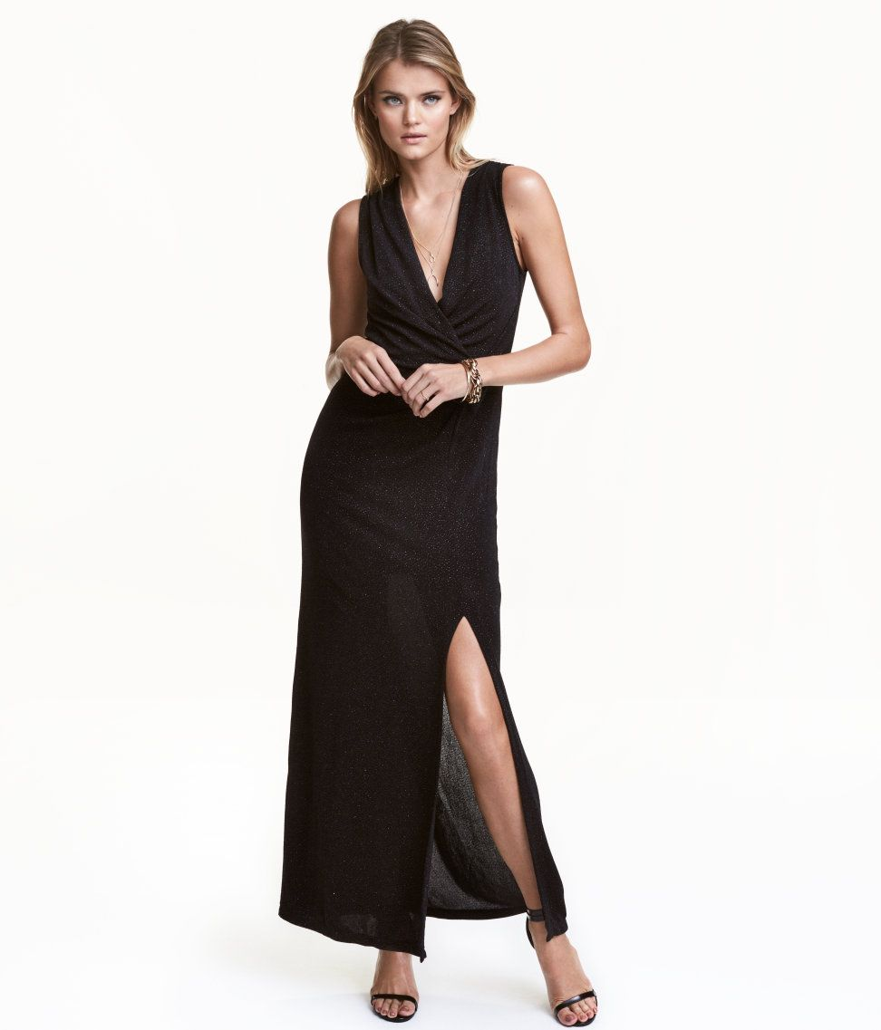 Check this out long fitted sleeveless dress in jersey with