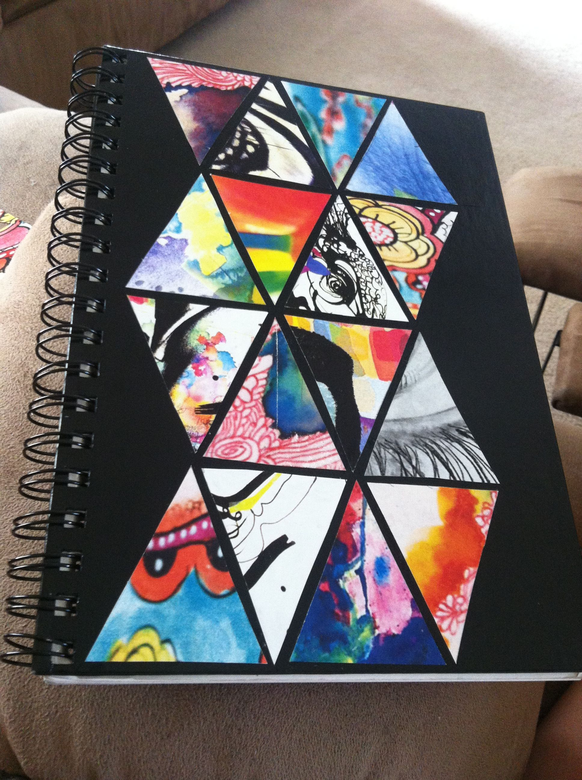 Diy journal make a different design on each triangle