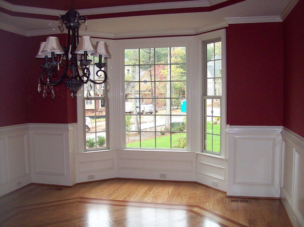 Bay Window With Elaborate Trim And Panels Work Done By Woodmaster Woodworks Cheap Interior Wall Paneling Bay Window Living Room Interior Window Trim