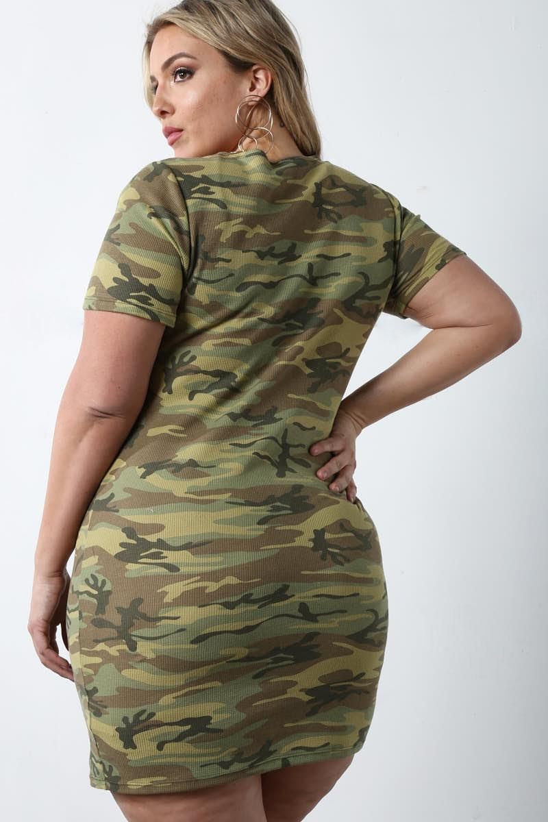 Detail View 4 Cool In Camo Plus Size Mini Dress Photography