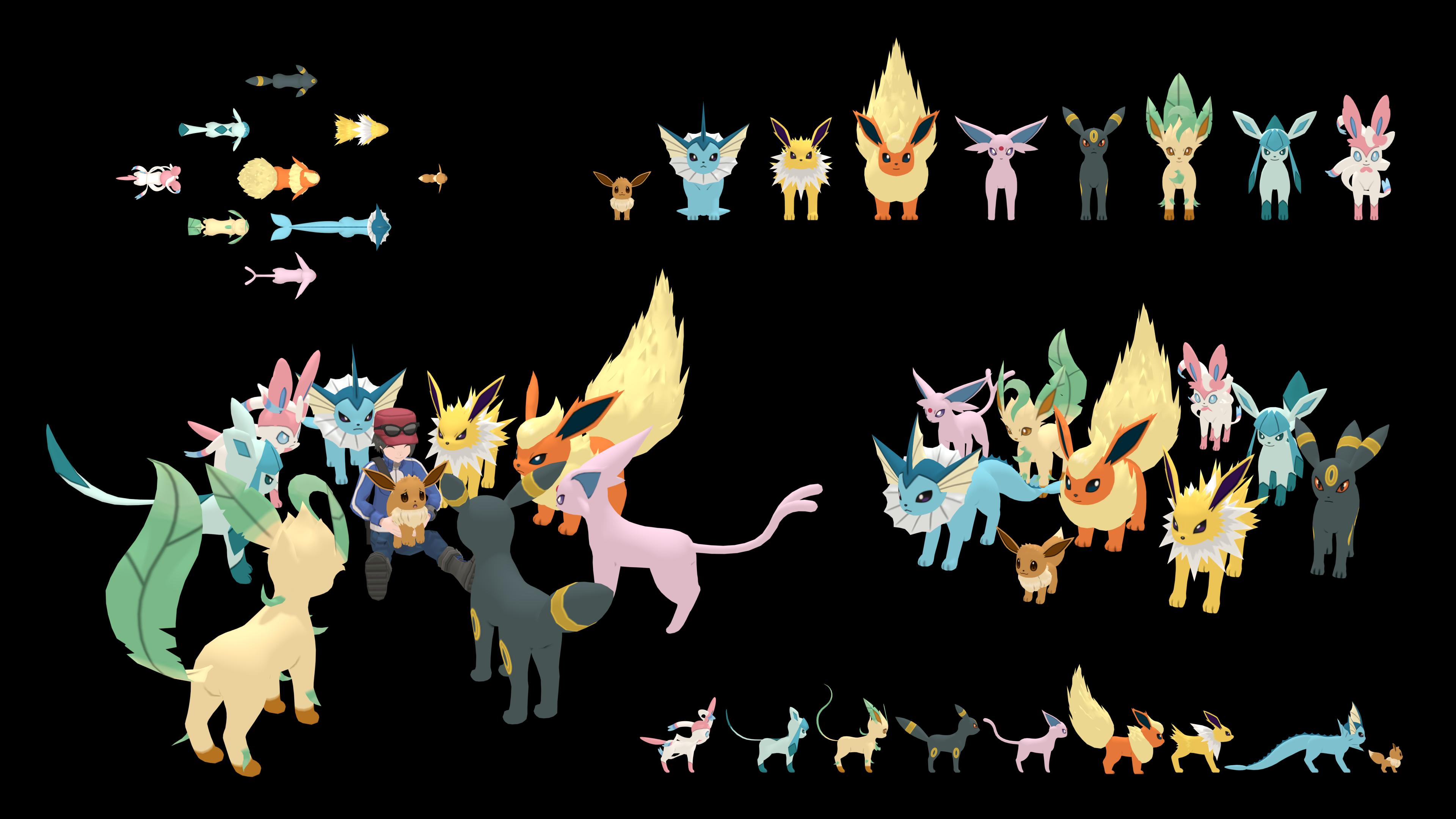 Size comparison through evolutions 16 Eevee!! Pokemon