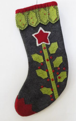 Felt Appliqued / Embroidered Christmas Stocking - Holly Leaves Charcoal Background Red / White / Green Unknown http://www.amazon.com/dp/B00DWN7D16/ref=cm_sw_r_pi_dp_5XMwub01YSCZQ