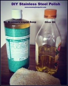 DIY Stainless steel cleaner. Olive oil + Dr Bronners