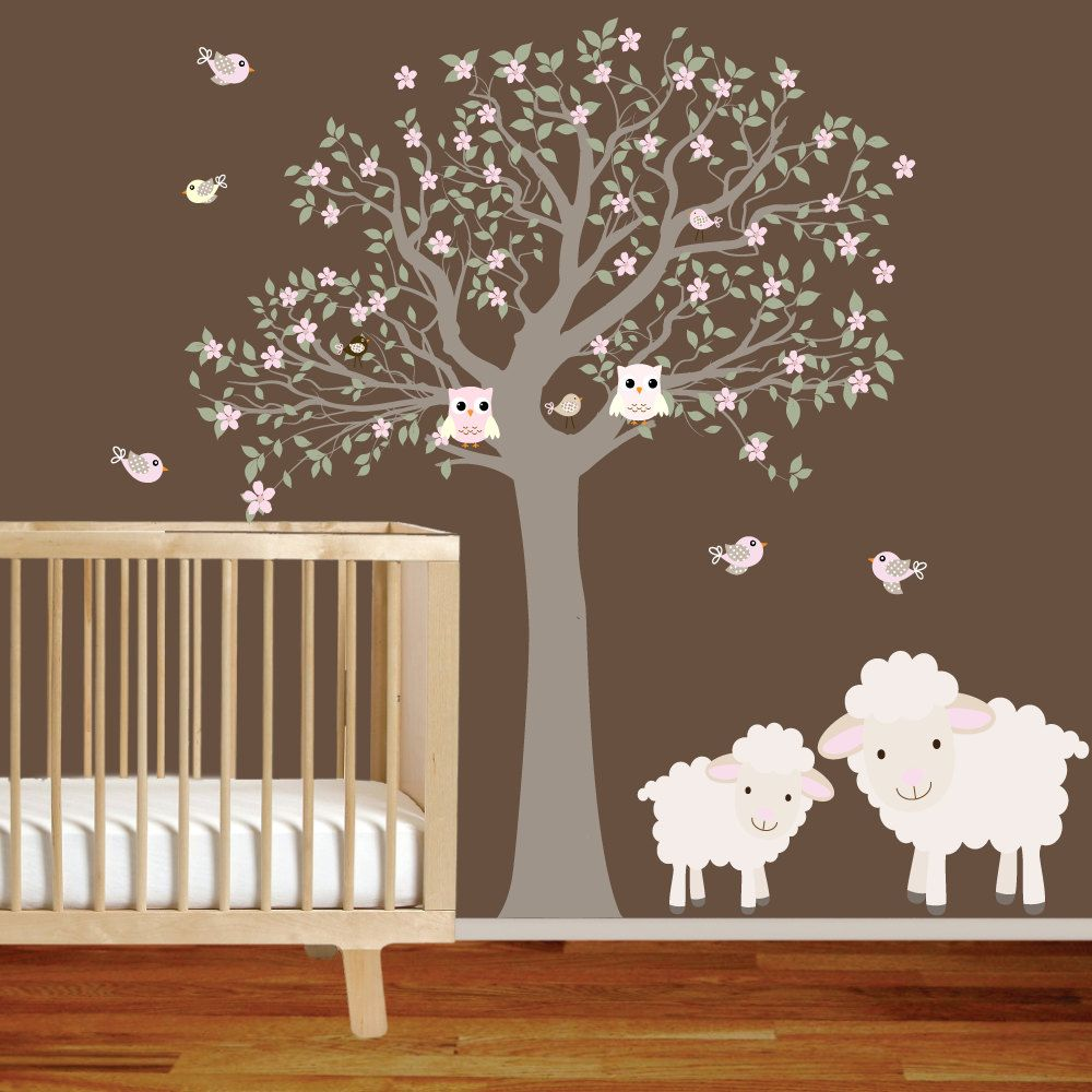 vinyl wall decal nursery tree with lambsowlsbirds by wallartdesign