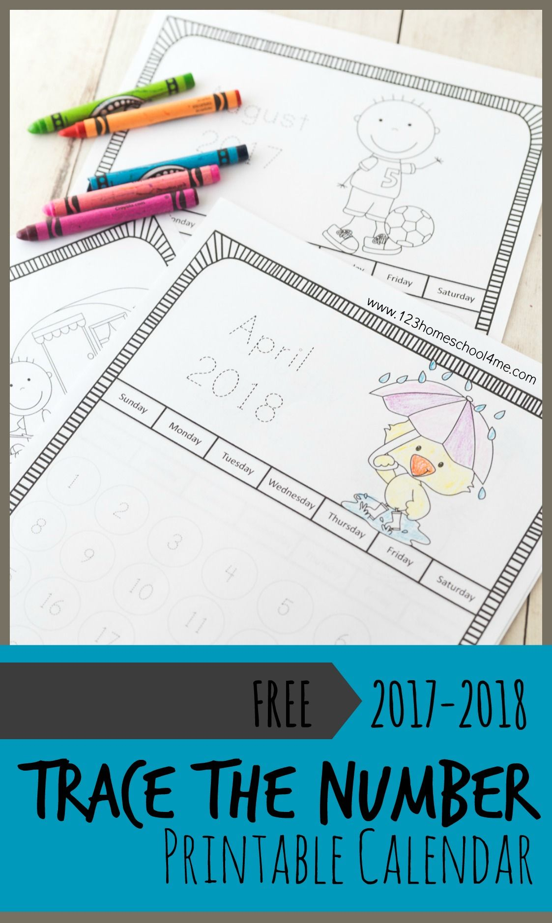 Trace Numbers Printable Calendars