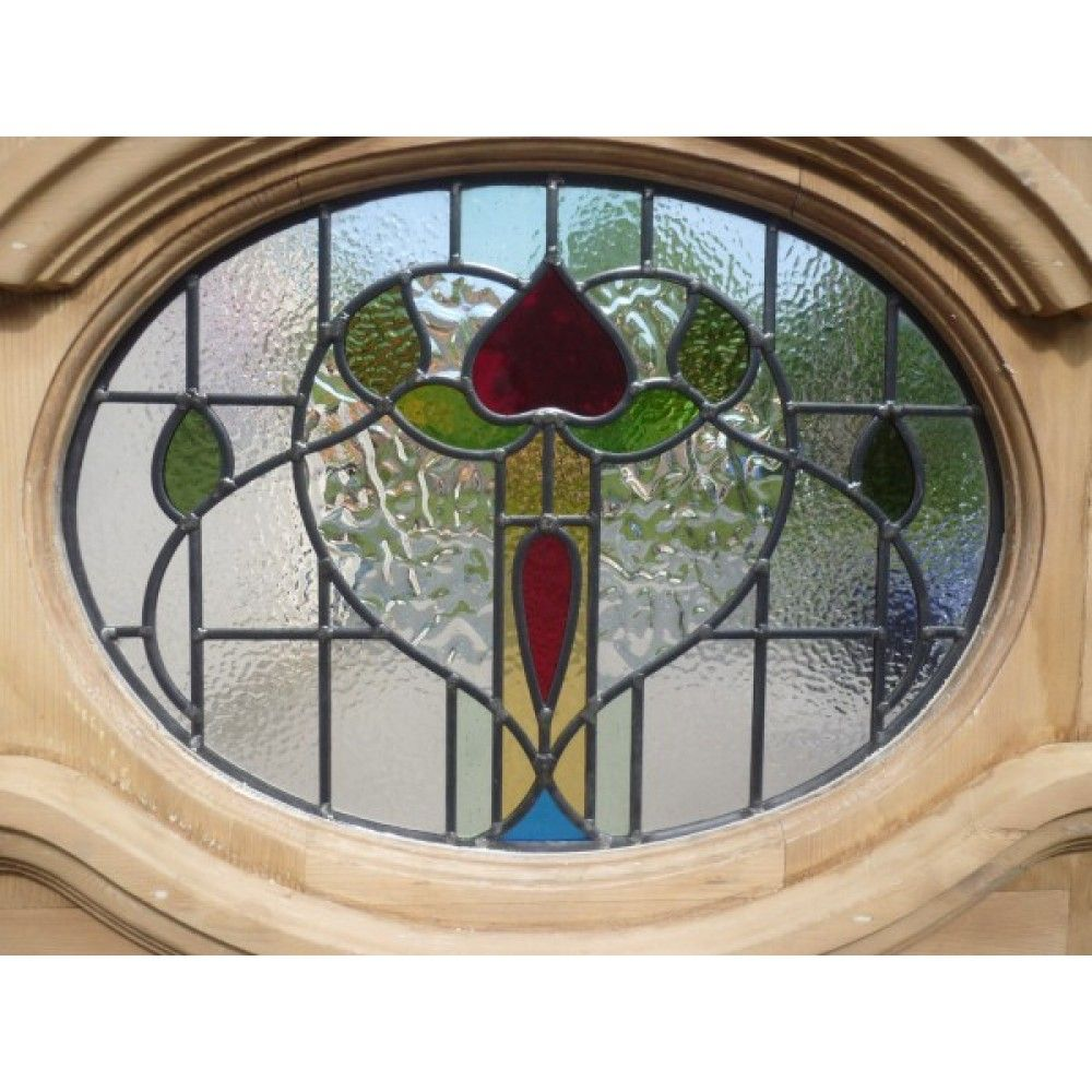 1930 Edwardian Stained Glass Exterior Door - Oval Floral