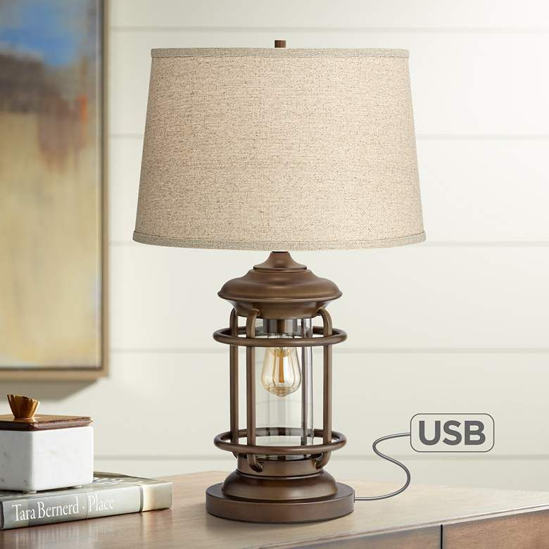 Andreas Industrial Night Light Table Lamp With Usb Port 45p79
