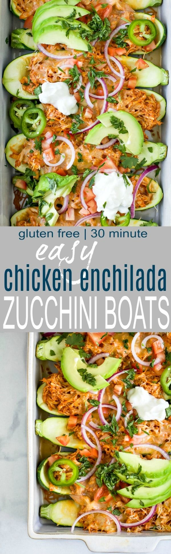 Easy Chicken Enchilada Zucchini Boats with red chili sauce and melted cheese  A 30 minute meal thats gluten free low carb high protein and perfect for a weeknight di...