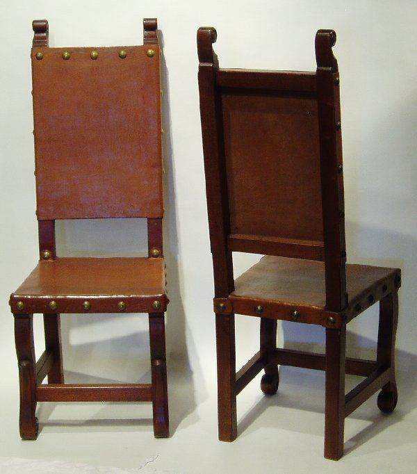 Spanish Colonial Chair Chestnut Colonial Chair Leather Side Chair Chair