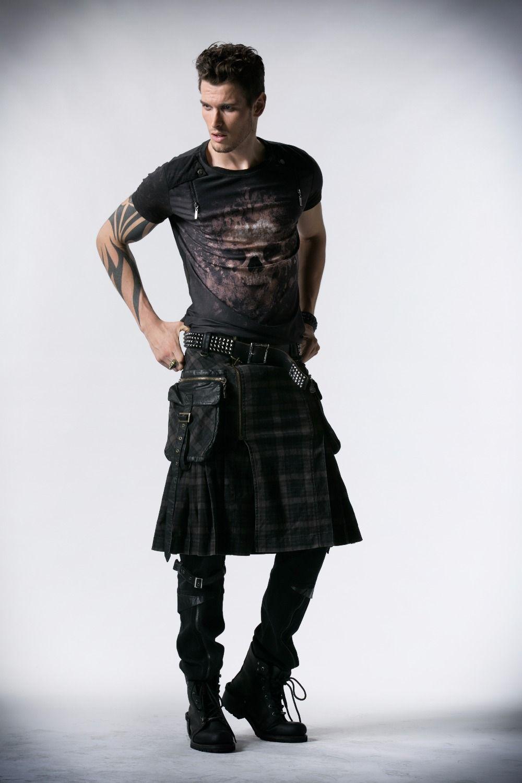 Gothique Kilt costume noir en coton