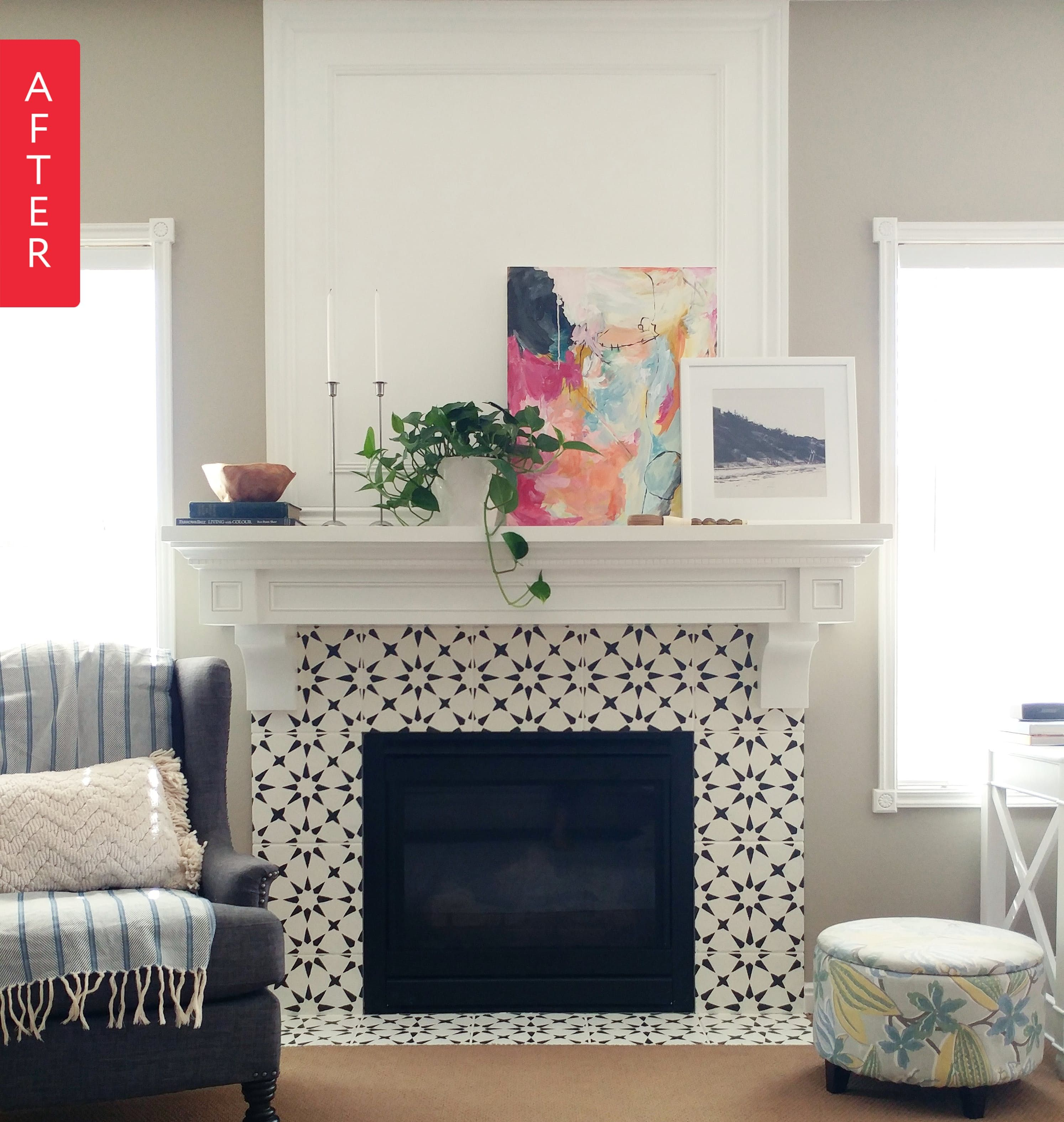 Before After From Boring Beige To Black White Beauty Fireplace Tile Surround Fireplace Design Home Fireplace