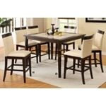 5 Pc. Evious II Contemporary Style Espresso Finish Wood Counter Height Table Set - A.M.B. Furniture & Design
