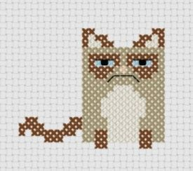 grumpy cat cross stitch motive zum einh keln intarsien crochet pinterest b gelperlen. Black Bedroom Furniture Sets. Home Design Ideas