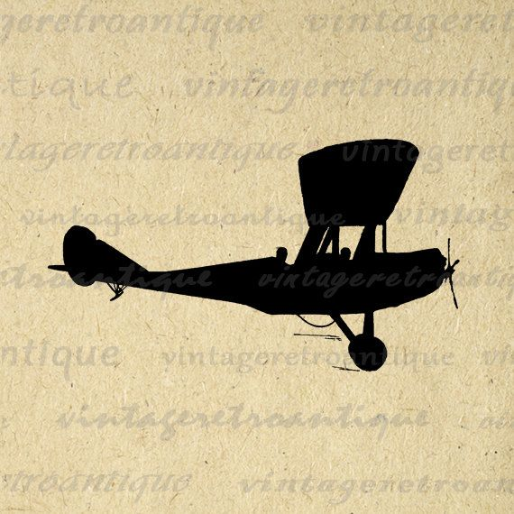 Digital Graphic Antique Plane Silhouette Image Airplane Printable ...