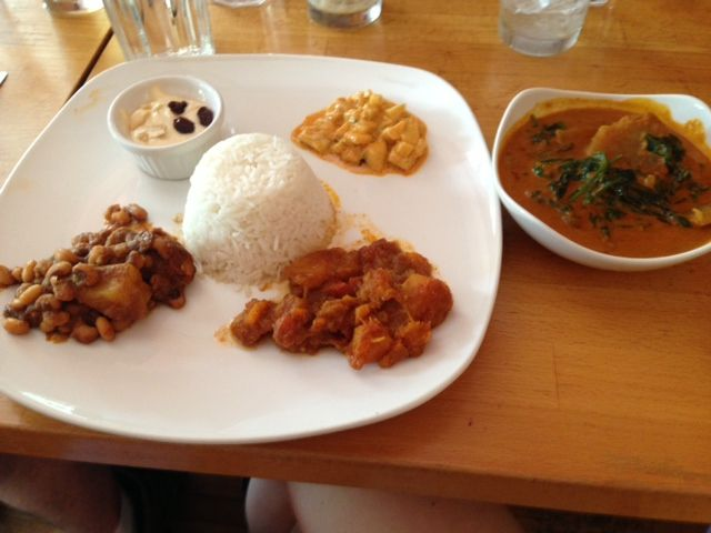 Namaste Cafe, Minneapolis.  Favorite dishes: squash curry with bison; aloo bodi (black eyed peas and potatoes); coconut spinach curry.