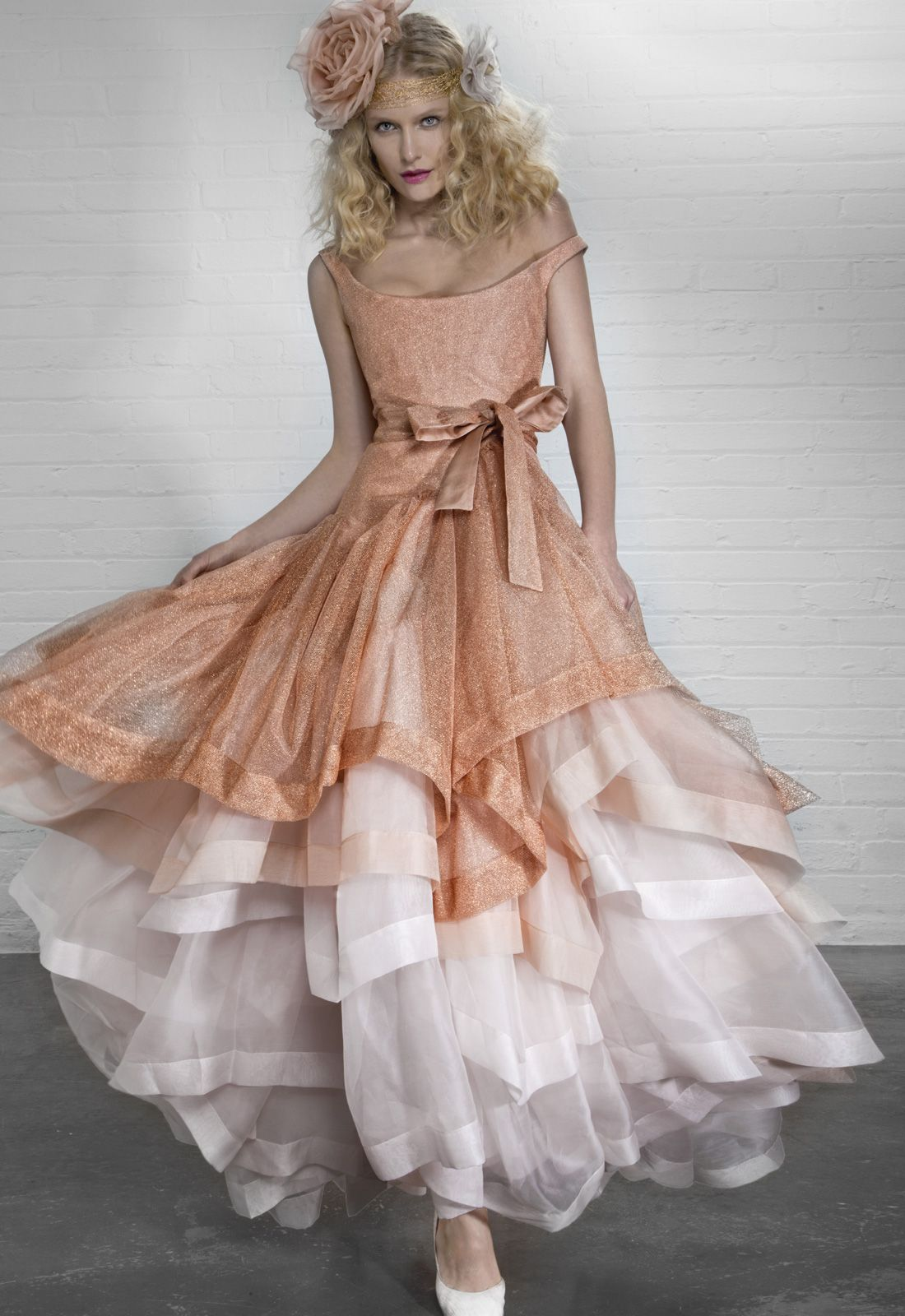 Vivienne westwood wedding dress  Vivienne Westwood Princess Dress Coral shimmer tulle on silk