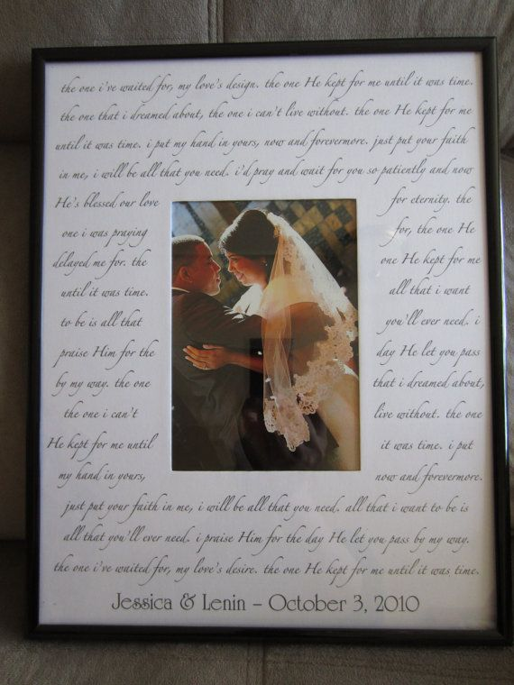 Custom Wedding Song Photo Mat With Frame Your Choice Of Lyrics Poem Or Quote On 11x14 For 5x7 Perfect Gift