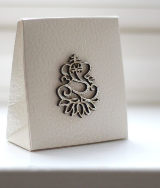Indian Ganesh Wedding Favour Box Ivory Bag Cutting Laser And