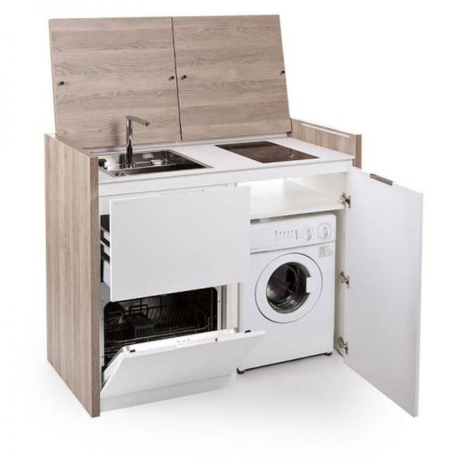 Compact All In One Kitchen Unit Hides Stove, Fridge And Dishwasher (Video) Nice Look