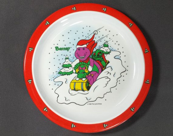 Melamine Christmas Platters.90s Barney Baby Bop Christmas Melamine Kids Plates Set Of 2