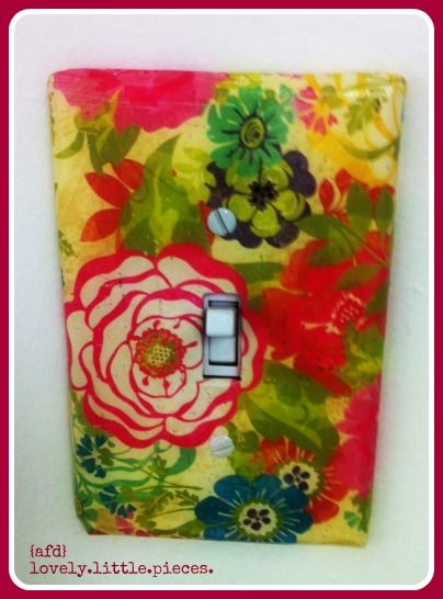 use some matte mod podge and your favorite scrapbooking paper from @hobbylobby to make this fantastic switchplate cover. wrap extra paper around the edges to give it a clean, finished look. goes with the clock i did, too!