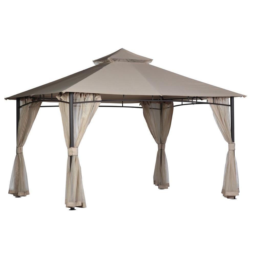 Hampton Bay Santa Maria 13 Ft X 10 Ft Roof Style Canopy Gazebo 5lgz6526 V4 The Home Depot Roof Styles Hampton Bay Gazebo