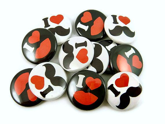 Mustache and Lips Buttons - Mustache Pins - (Set of 12) - Pinback Buttons - Party Favors - Photo Props. $5.50, via Etsy.