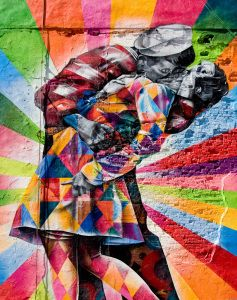 Street Art Walk In Chelsea: 7 Murals To See (The Kiss art along the Highline)