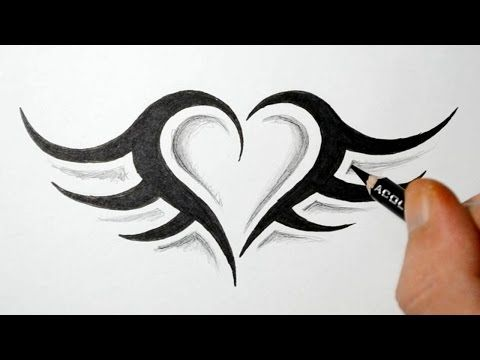 How To Draw A Simple Tribal Heart Tattoo With Wings Youtube