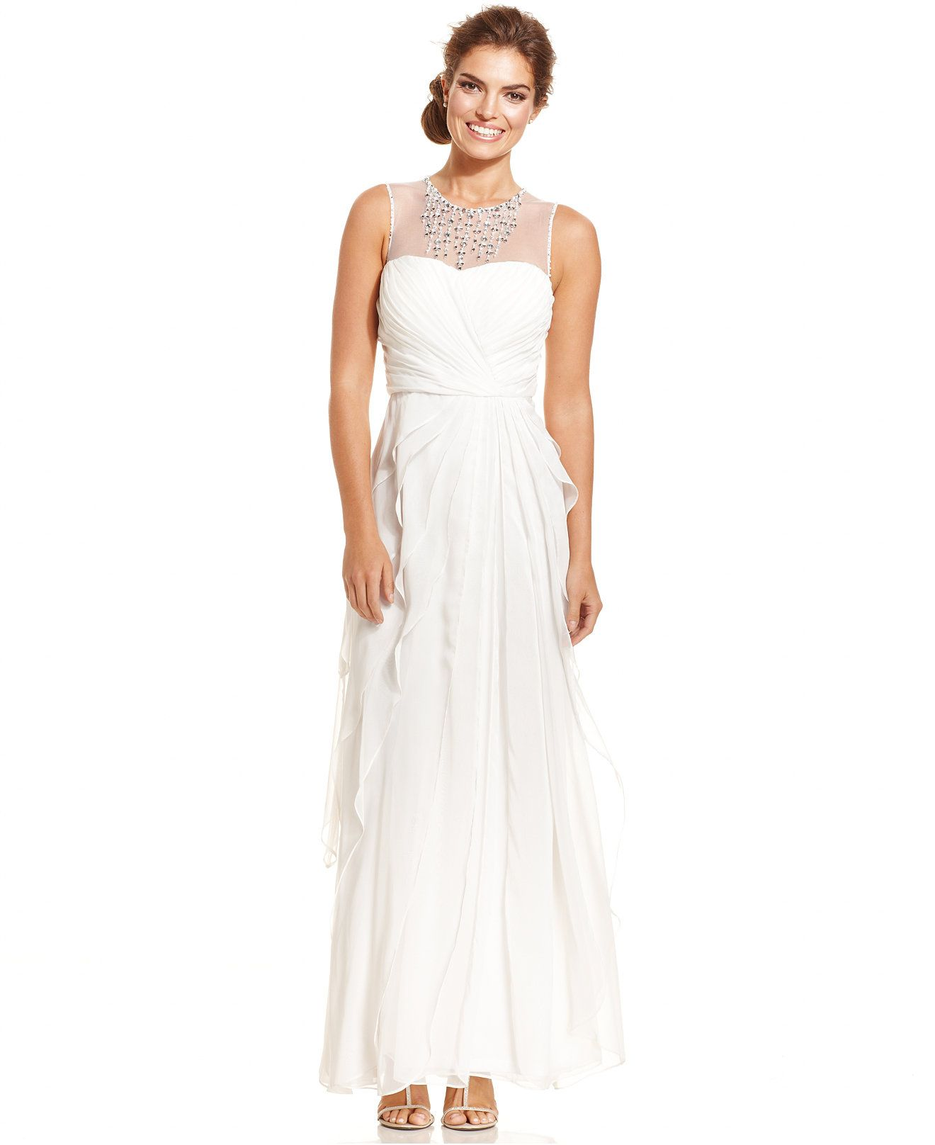 Adrianna Papell Embellished Tiered Chiffon Gown - Wedding Day ...