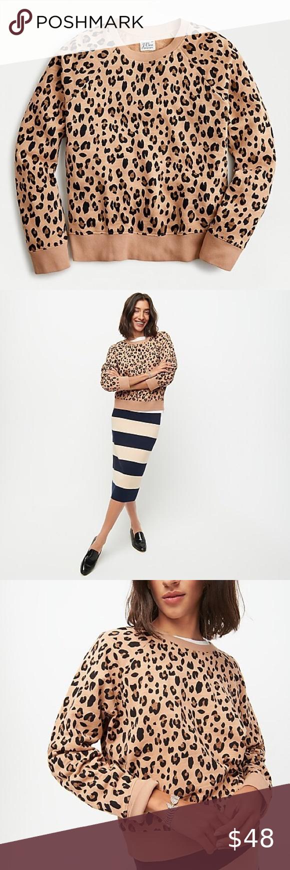 Nwt Jcrew Leopard Print Sweatshirt Best Seller Vintage Cotton Terry Crewneck Sweatshirt In Leopard P In 2020 Leopard Print Sweatshirt Printed Sweatshirts Leopard Print [ 1740 x 580 Pixel ]