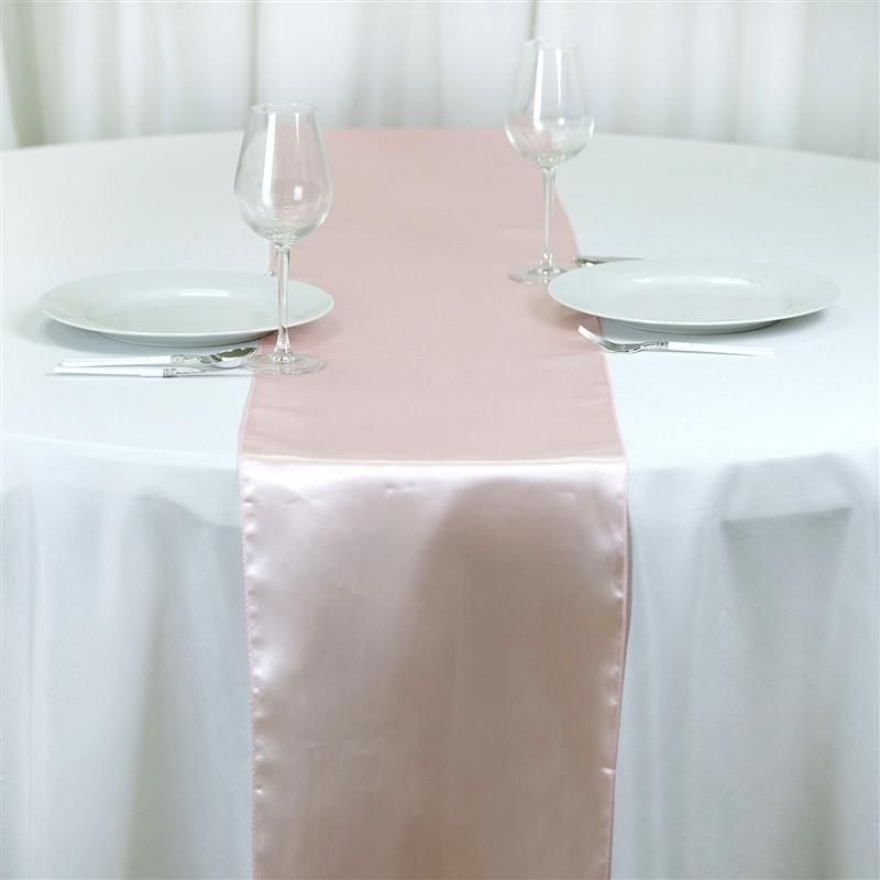 12 X108 Blush Rose Gold Satin Table Runner With Images Table Runners Wedding Blush Roses Table Cloth
