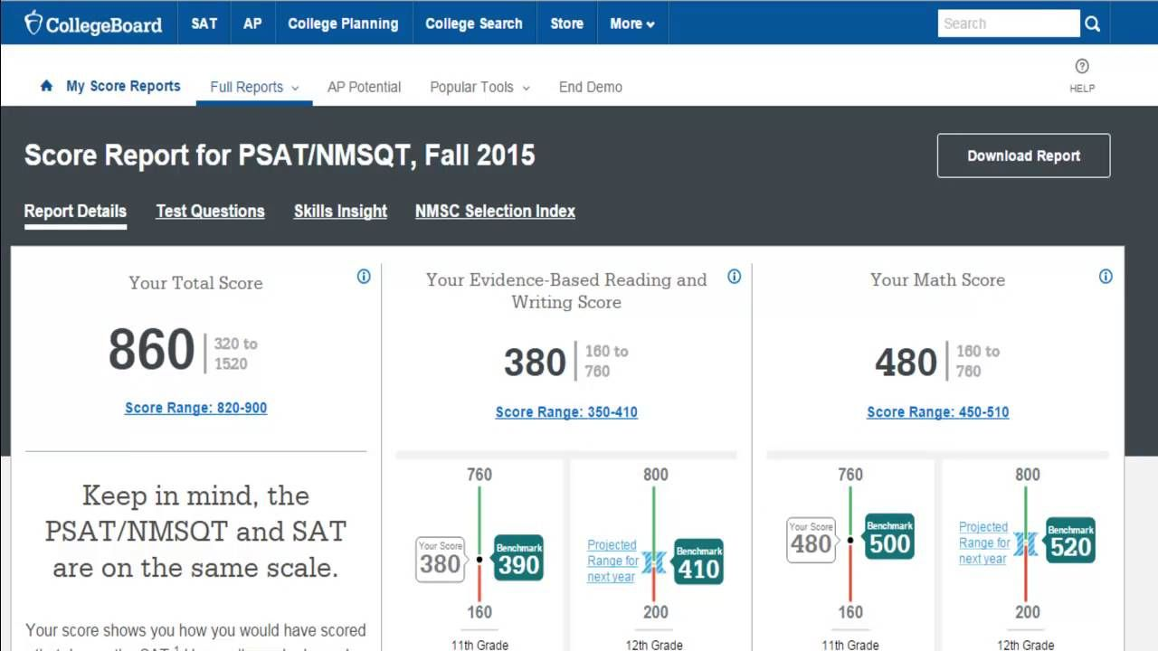 The new psat understanding your online score report psat advice learn the basics of the online psat score report for the new psat and later nvjuhfo Choice Image