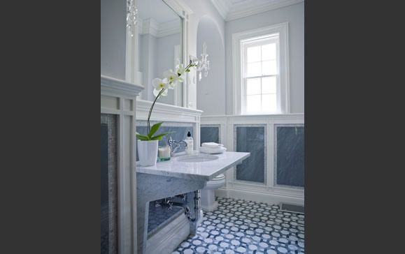 powder room floor tile  Vicente Burin Architects, LLC