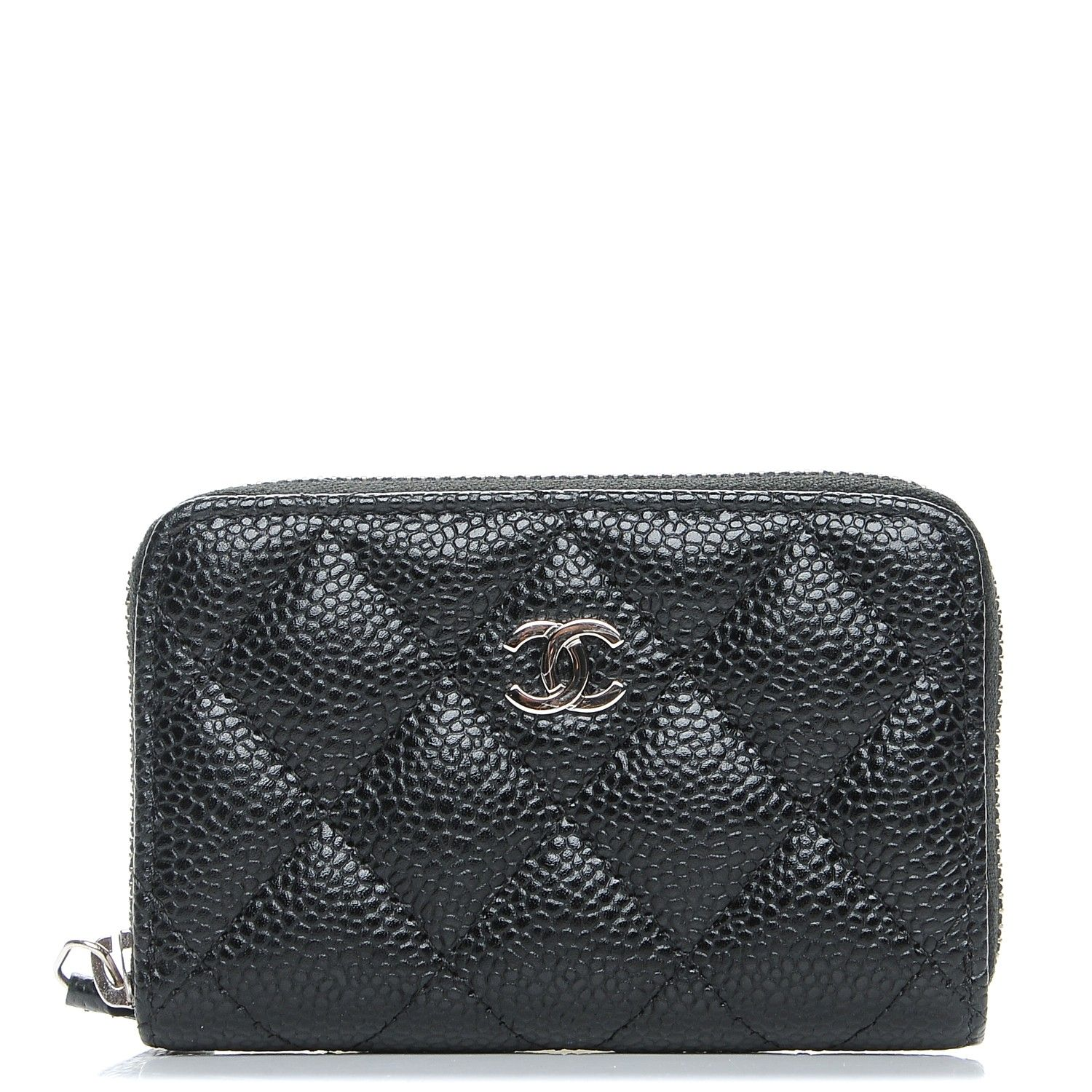 40d2b8127b5447 This is an authentic CHANEL Caviar Quilted Zip Coin Purse in Black. This  petite wallet