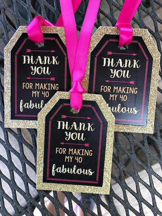 FORTY AND FABULOUS 40 And Fabulous Favor Tags 40th Party Birthday Decorations Ladies Pink Gold