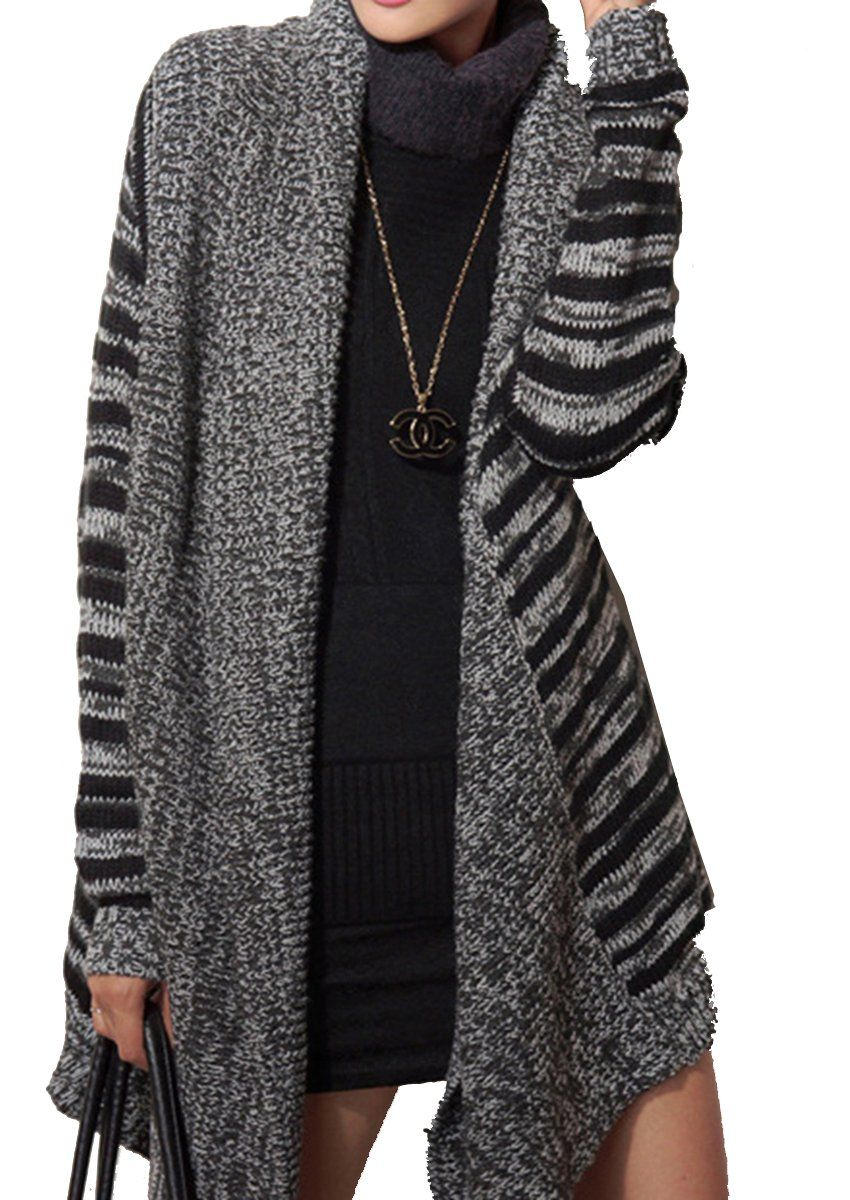 ELLAZHU Women Stripe Asymmetric Hem Cardigan Sweater Coat Onesize ...