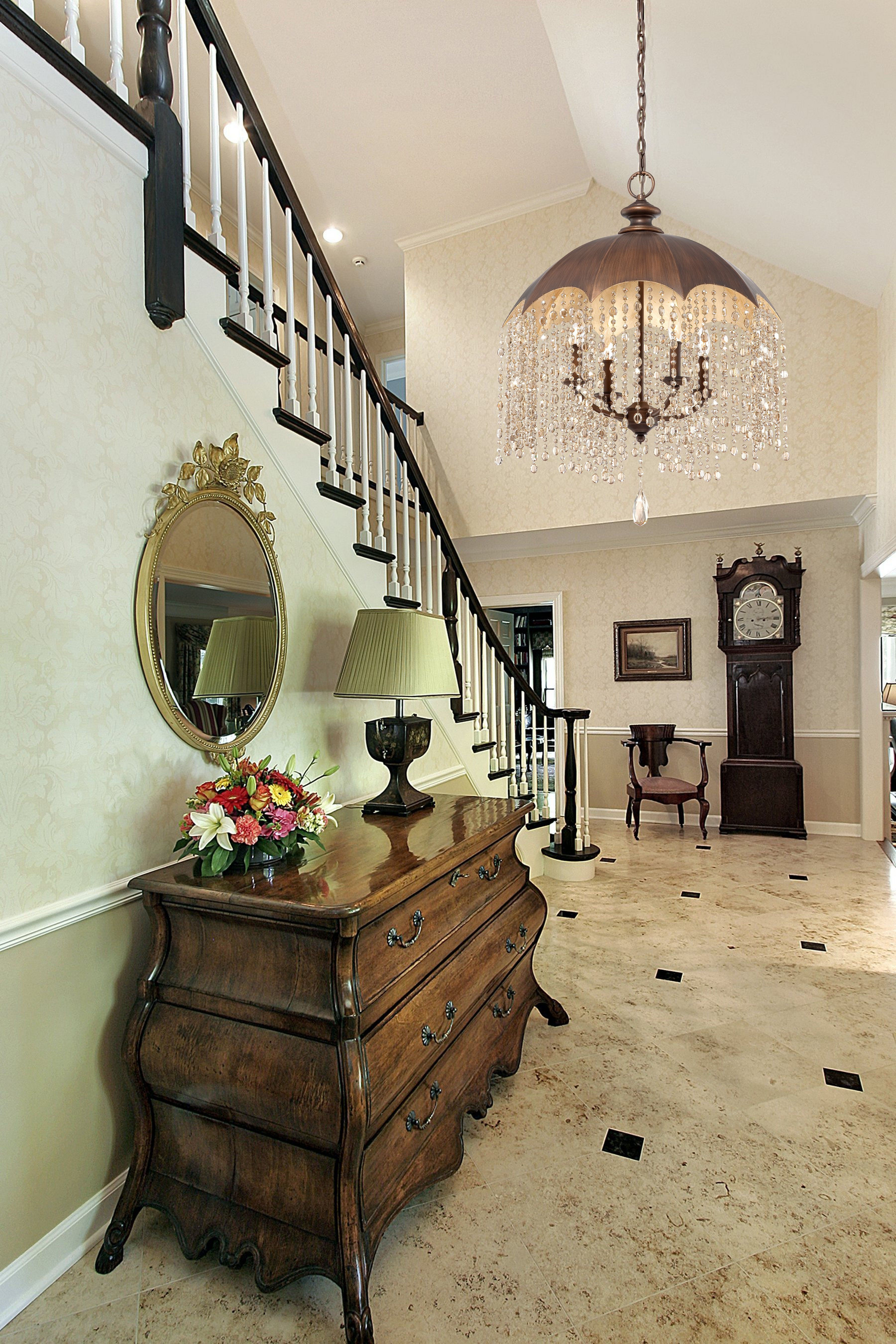 Charmant Foyer With Sloped Ceiling And Dark Wood And White Staircase. Staircase  Access Is At The End Of The Foyer Creating An Entry Hall Effect.