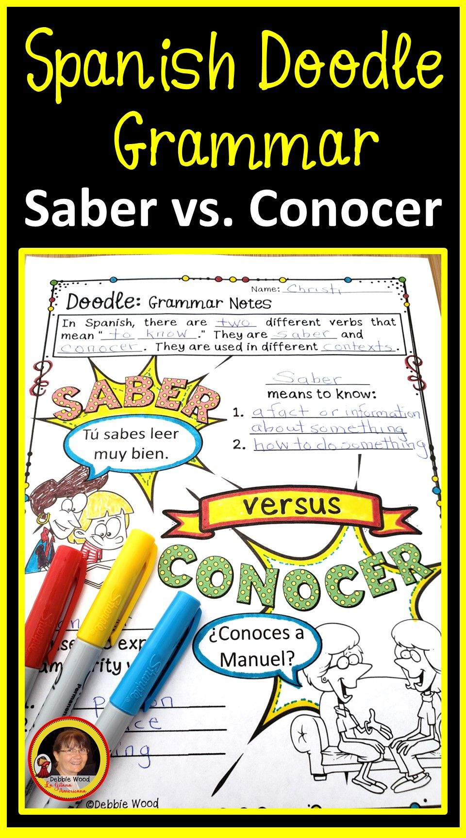 Saber Vs Conocer Debbie Wood Spanish Resources Spanish