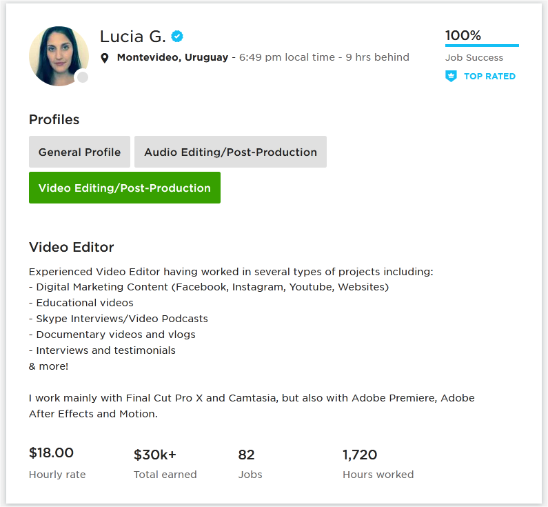 Upwork Profile Overview Sample For Video Editor 2d 3d Animation Upwork Profile Upwork Video Editor