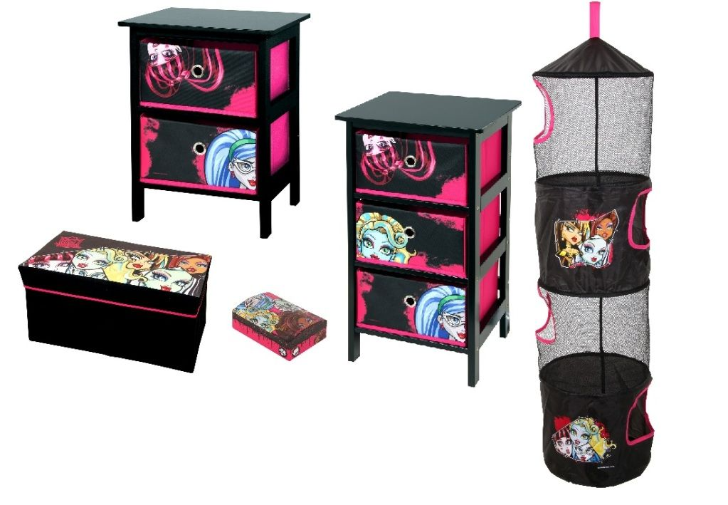 Monster High 5 Piece Bedroom Package, 2 Drawer Units, Stool, Trap,  Jewellery Box