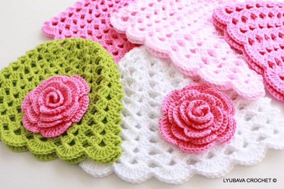 Crochet PATTERN, Baby Hat With Rose Flower Pattern, Baby Girl Gift ...