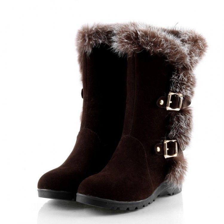 Rabbit Fur Buckle Women\'s Snow Boots Wedge Heel 3175   Pinterest ...