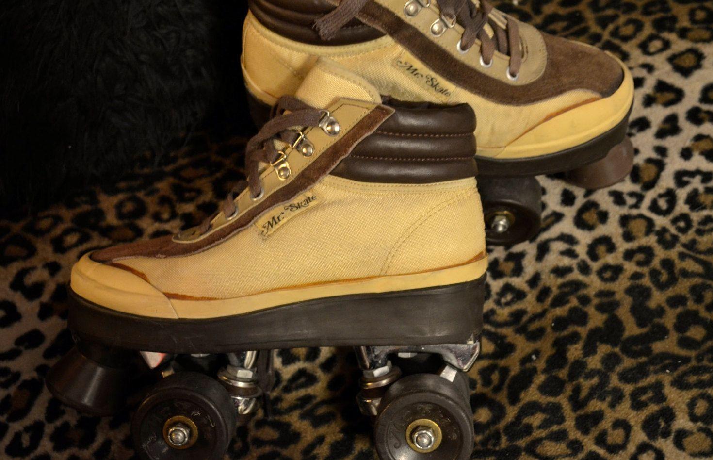 Vintage rollerskates quads Roller Derby Boot Skates brown work boot ...