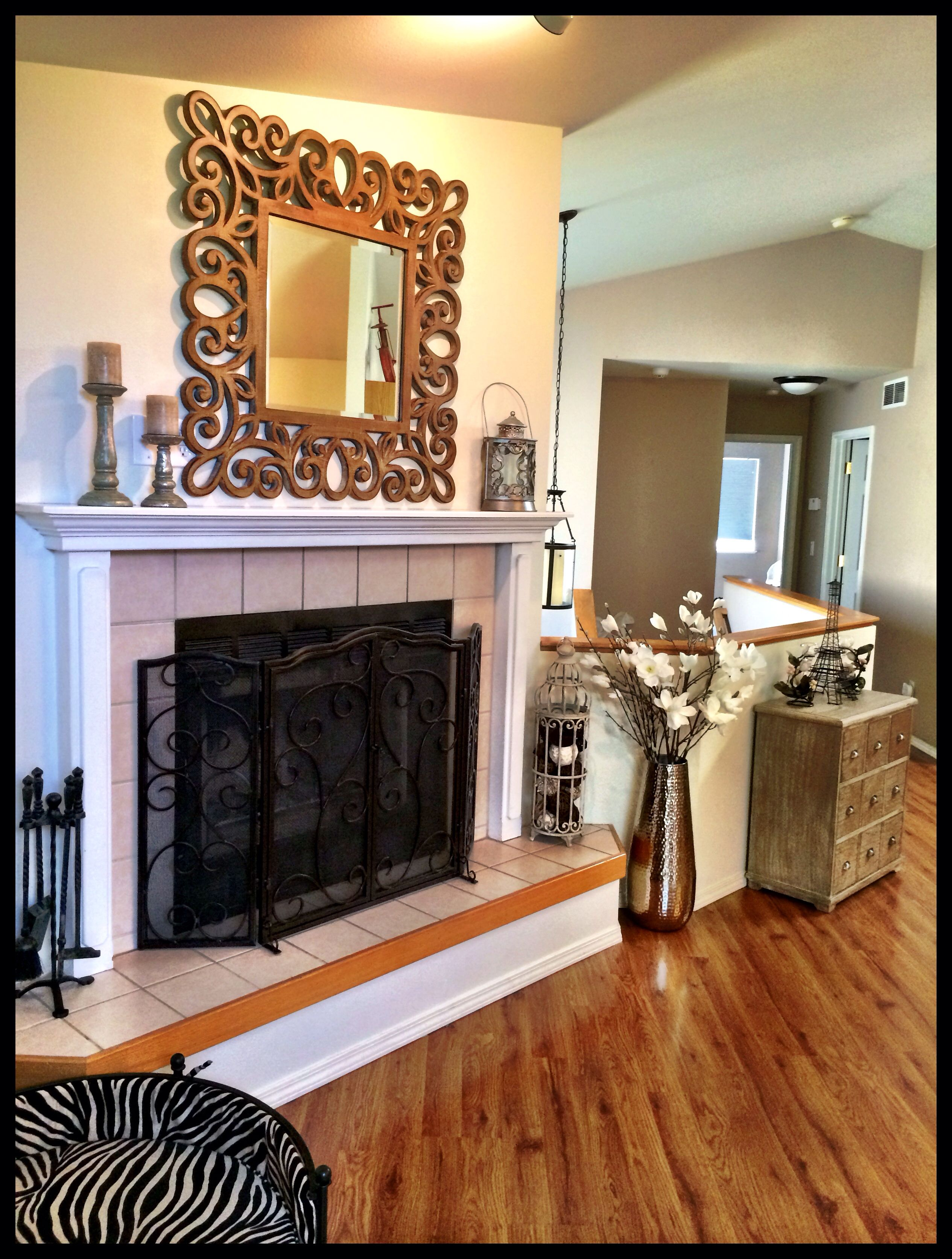 rustic modern fireplace decor mirror living room fireplace