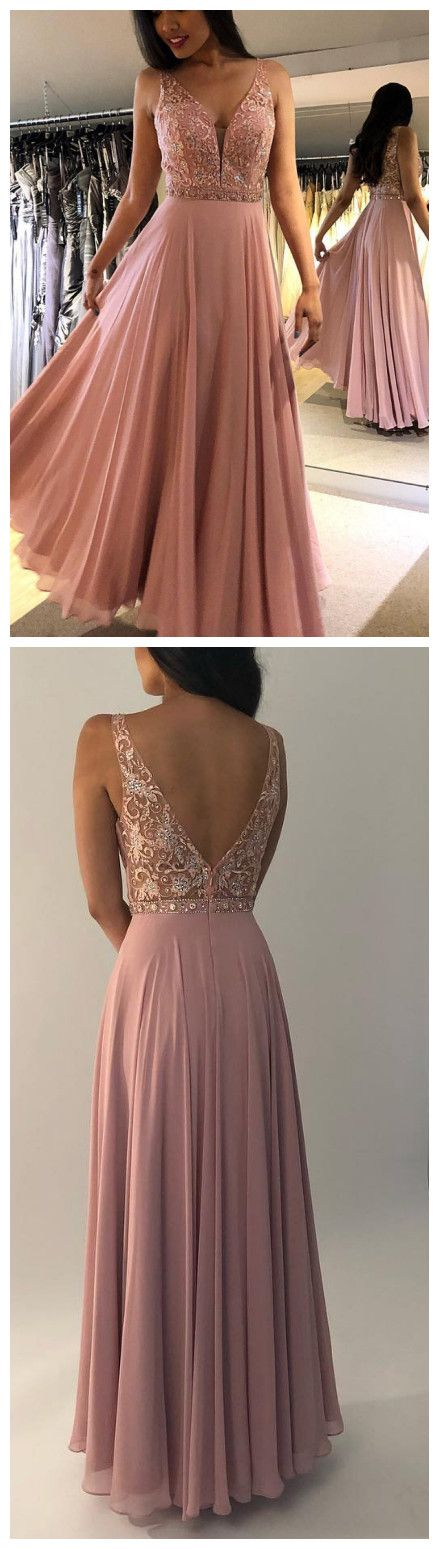 A-Line V-Back Straps Sequins Long Peach Prom Dress