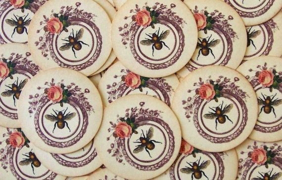 Vintage Style Stickers Envelope Seals Bee Wreath Rose by bljgraves, $5.00
