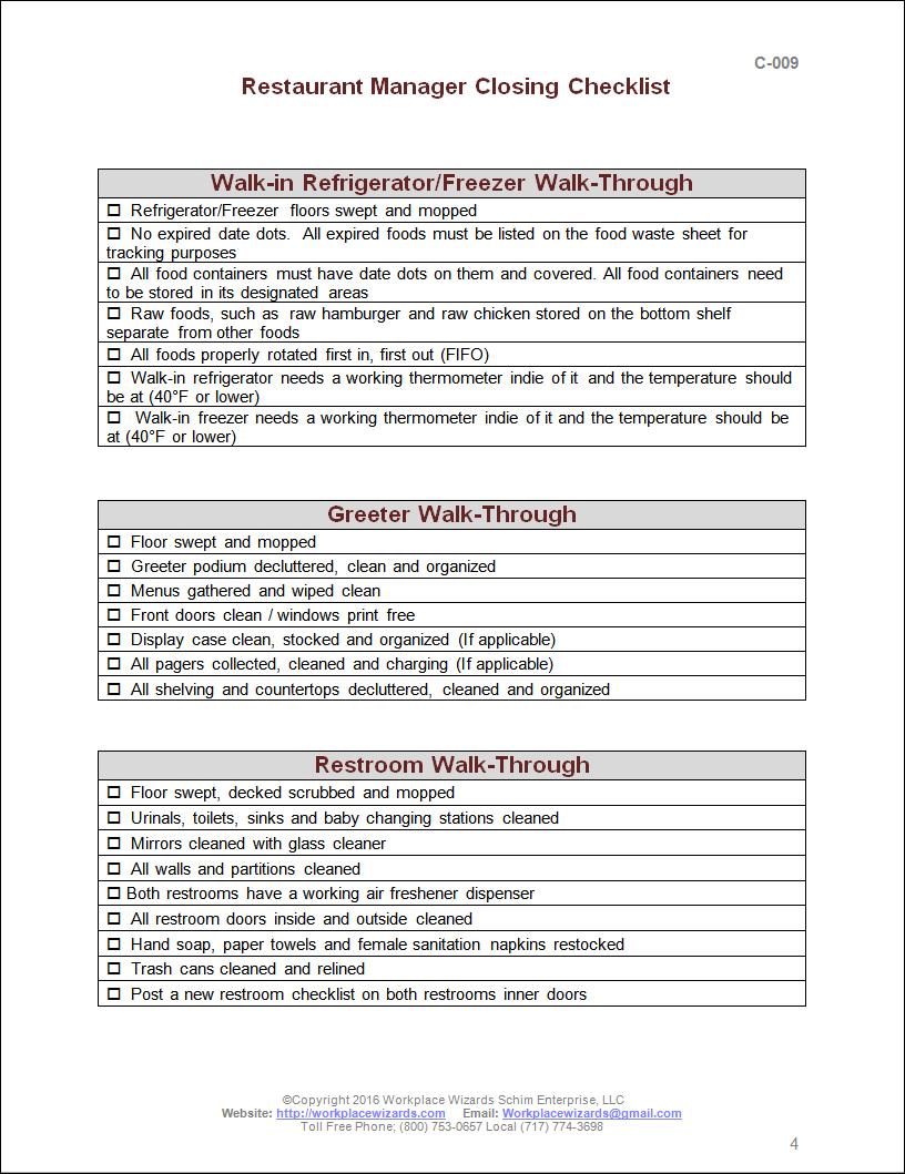 Restaurant Kitchen Policies And Procedures